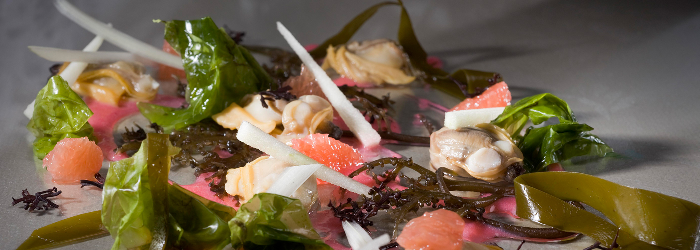 Spanish recipe: Clams in seaweed steam with essence of pink grapefruit and curled cardoon. Photo by: Toya Legido/©ICEX.