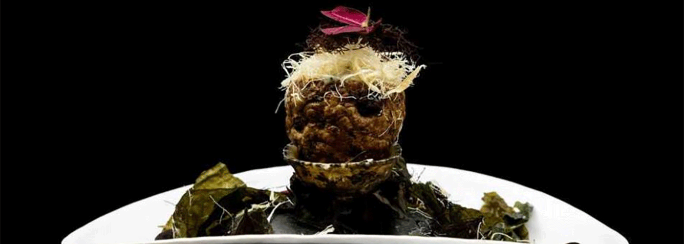 Norwegian cod in crispy Jerusalem artichoke with seaweed