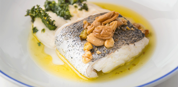 Spanish Chef Pepe Solla: Celeiro hake with nuts olive oil