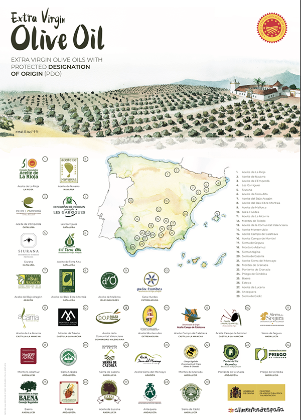 Spanish olive oil map